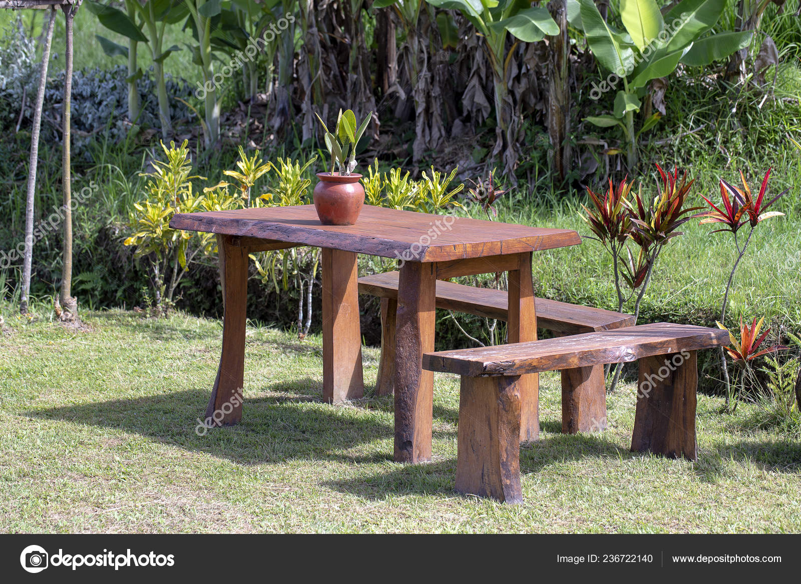 Wooden Table Chairs Empty Cafe Tropical, Wooden Table Chairs For Garden