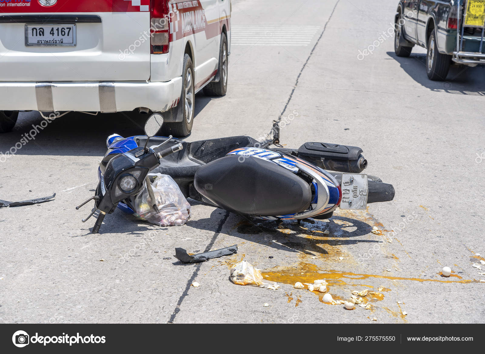 Motorcycle accident that happened on the road at tropical