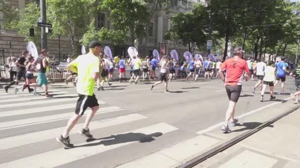 Athletes marathon run camera back slow motion