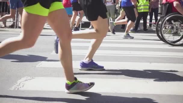 Marathon athlete on wheelchair Slow Motion