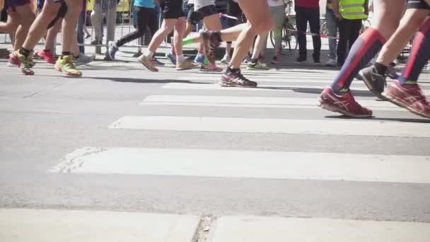 Running shoes marathon running down the street