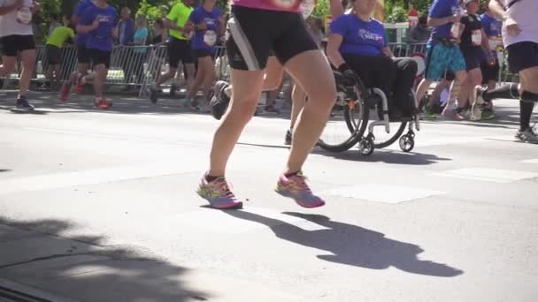 People running around the city in a marathon Slow Motion