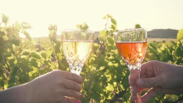 Zpomalený pohyb. Dvě skleničky s bílým a červeným vínem Připijte si na pozadí vinice