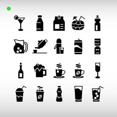 Beverage icon set in black or glyph style, unique design, expanded stroke, and editable vector with any color or size what you lik icon