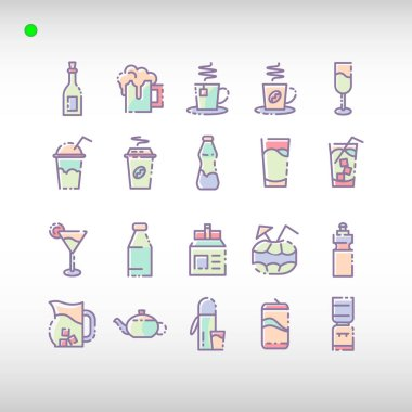 Beverage icon set in flat color style, unique design, expanded stroke, and editable vector with any color or size what you lik icon