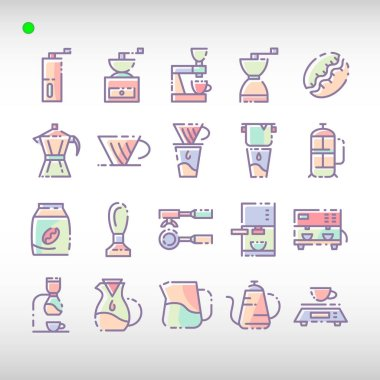 Coffee icon set in flat color style, unique design, expanded stroke, and editable vector with any color or size what you lik icon