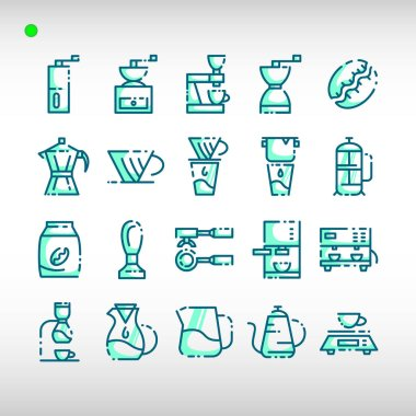 Coffee icon set in two tone blue color style, unique design, expanded stroke, and editable vector with any color or size what you lik icon
