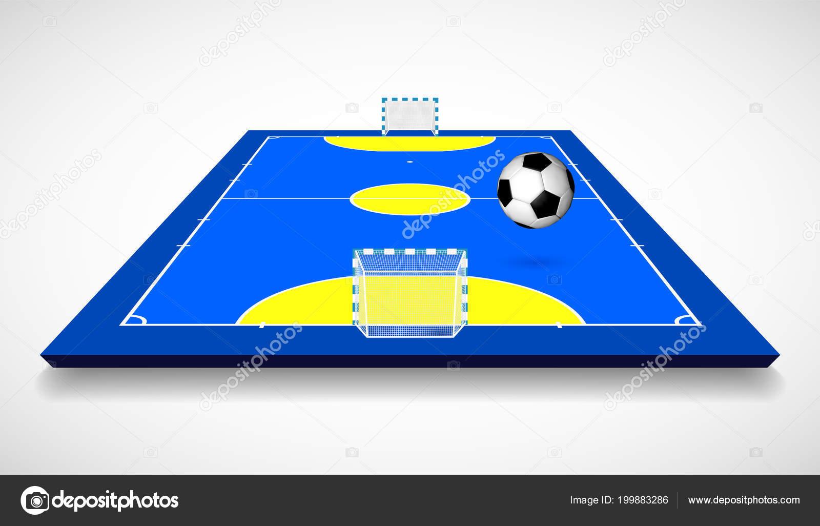 Tribunal Futsal Campo Com Ilustração Vetor Vista Perspectiva Bola — Vetores de  Stock 45f332dd7b885