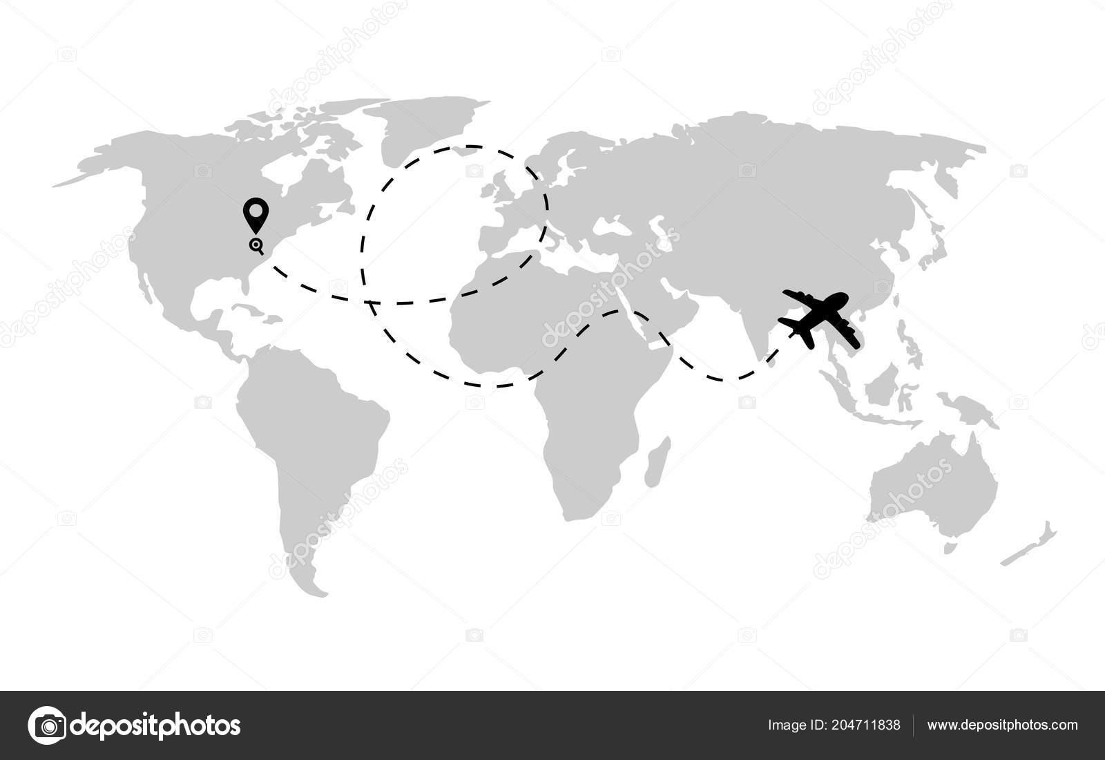 a4b55f6200 Ruta de avión en forma de línea discontinua en el mapa del mundo. Ruta de  avión con mundo mapa aislado sobre fondo blanco.