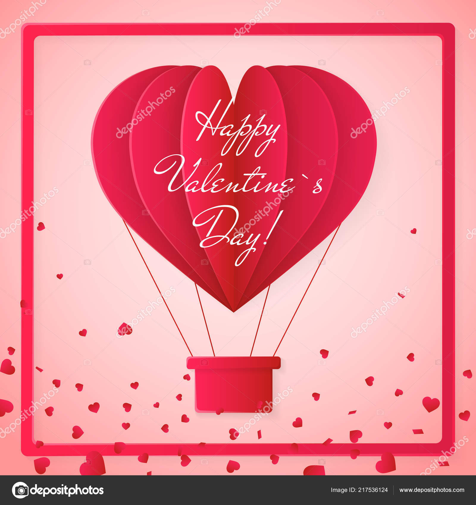 happy valentines day origami paper hot air balloon gift box vector ... | 1700x1600