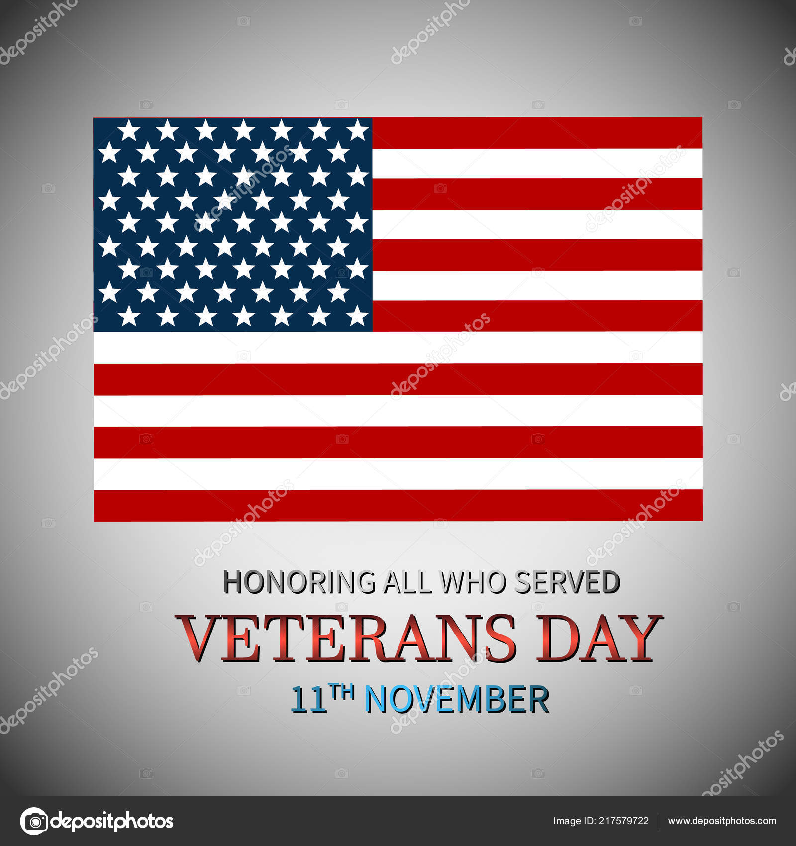 Veterans Day Usa American Flag Honoring All Who Served Vector