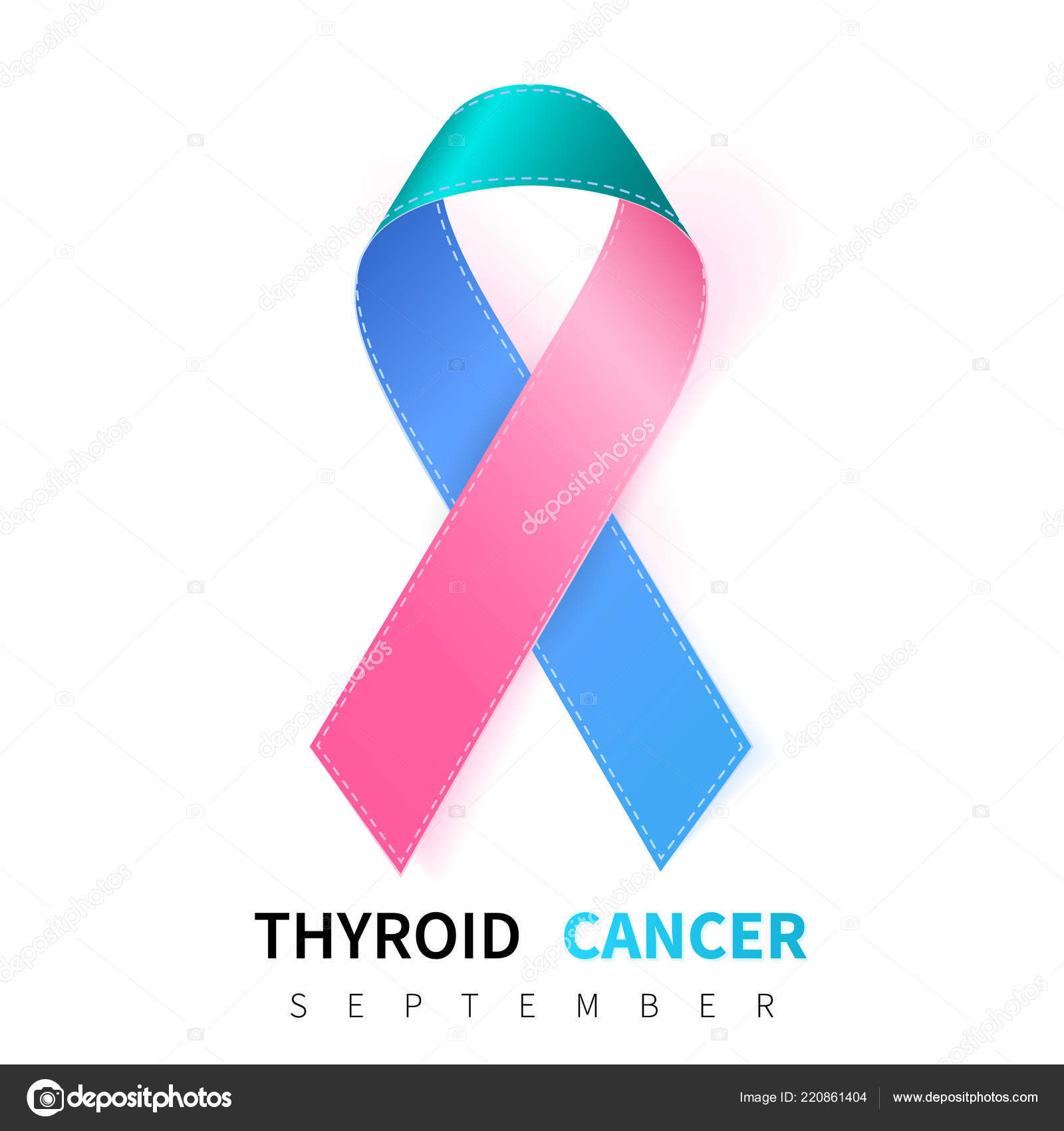 Thyroid Cancer Awareness Month Realistic Teal Pink Blue Ribbon Symbol Stock Vector C Olehsvetiukha Gmail Com 220861404