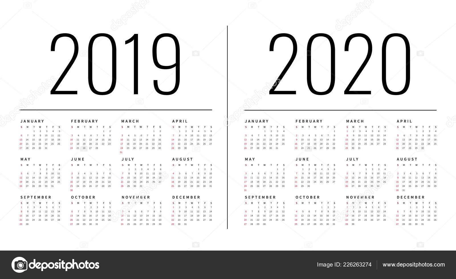 Layout Calendario 2020.Mockup Simple Calendar Layout 2019 2020 Years Week Starts