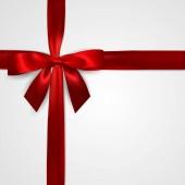Realistické červenou stuhu s příčným červené stužky izolované na bílém. Prvek pro zdobení dárků, pozdravy, svátky. Vektorové ilustrace.