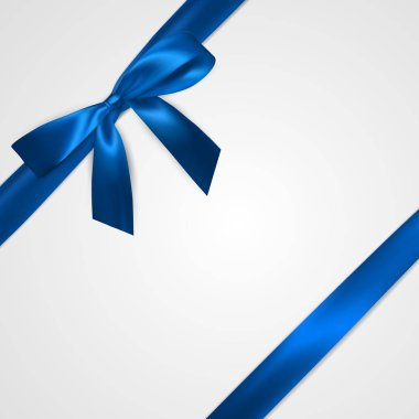 Realistic blue bow with ribbons isolated on white. Element for decoration gifts, greetings, holidays. Vector illustration.
