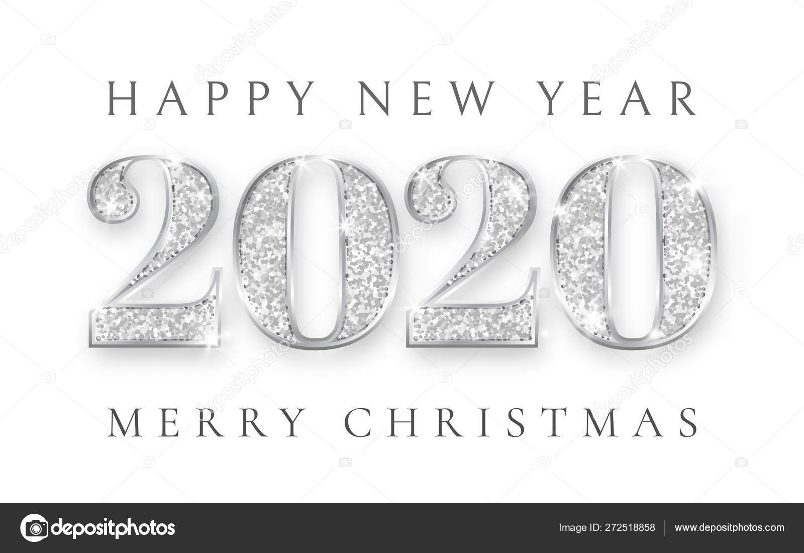 Christmas 2020 Silver Happy New Year and Marry Christmas 2020, silver numbers design of