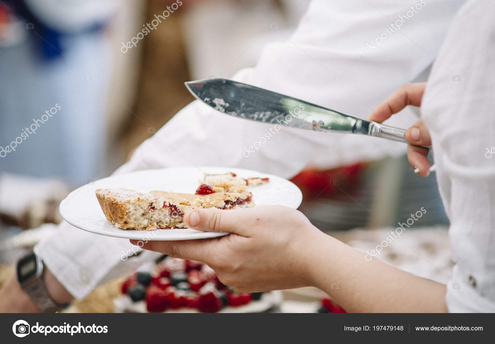 Hand holding plates of cake u2014 Photo by clementetinin & Hand Holding Plates Cake u2014 Stock Photo © clementetinin #197479148