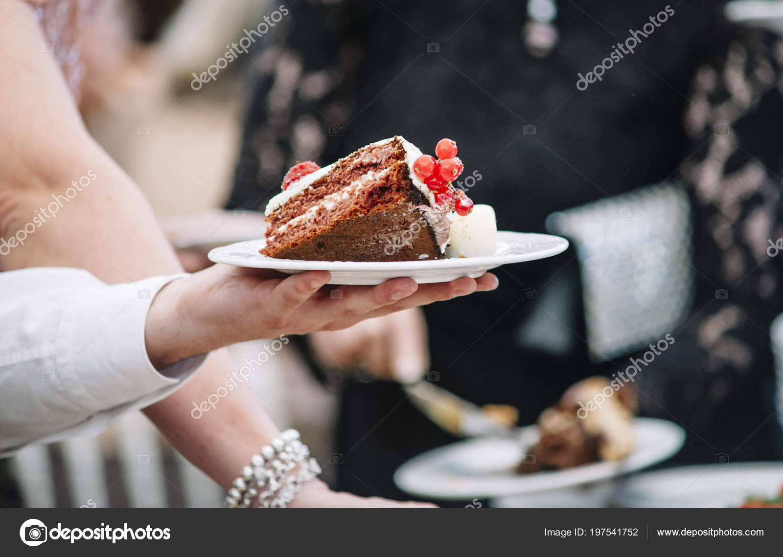 Hand holding plates of cake u2014 Stock Photo & hand holding plates of cake u2014 Stock Photo © clementetinin #197541752