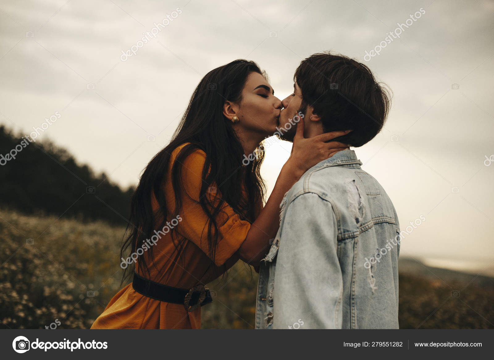 Side view portrait of beautiful young caucasian couple