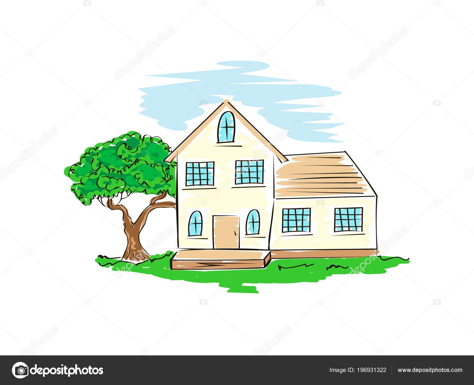 Dessin Libre croquis vector stock maison architecture dessin main libre simple