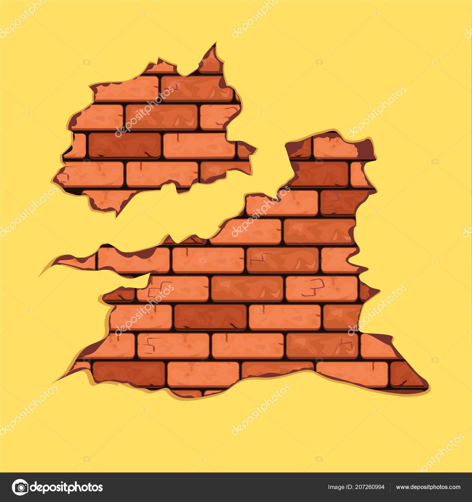 Vector Wall Brick Masonry Old Shabby Concrete Brick Cracks Vector ...