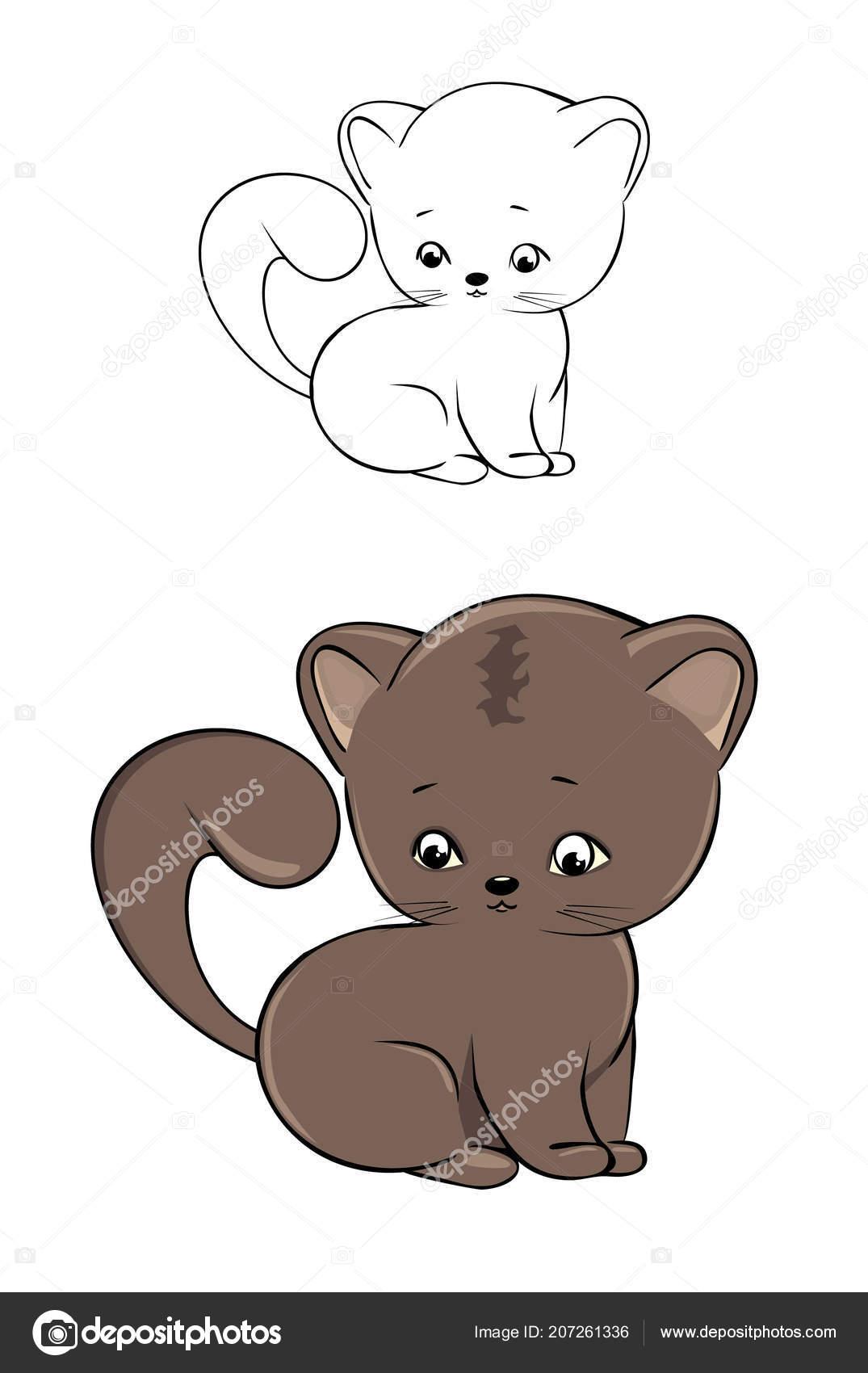 Very Cute Kitten Coloring Vector Illustration Stockvektor