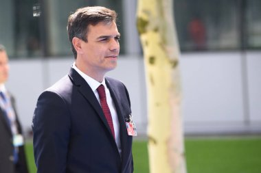 11.07.2018. BRUSSELS, BELGIUM. Pedro Sanchez, Prime Minister of Spain. World leaders Arriving to NATO (North Atlantic Treaty Organization) SUMMIT 2018