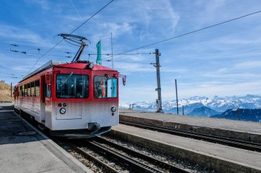 Famous electric red tourist swiss train on Rigi mountain,Switzer