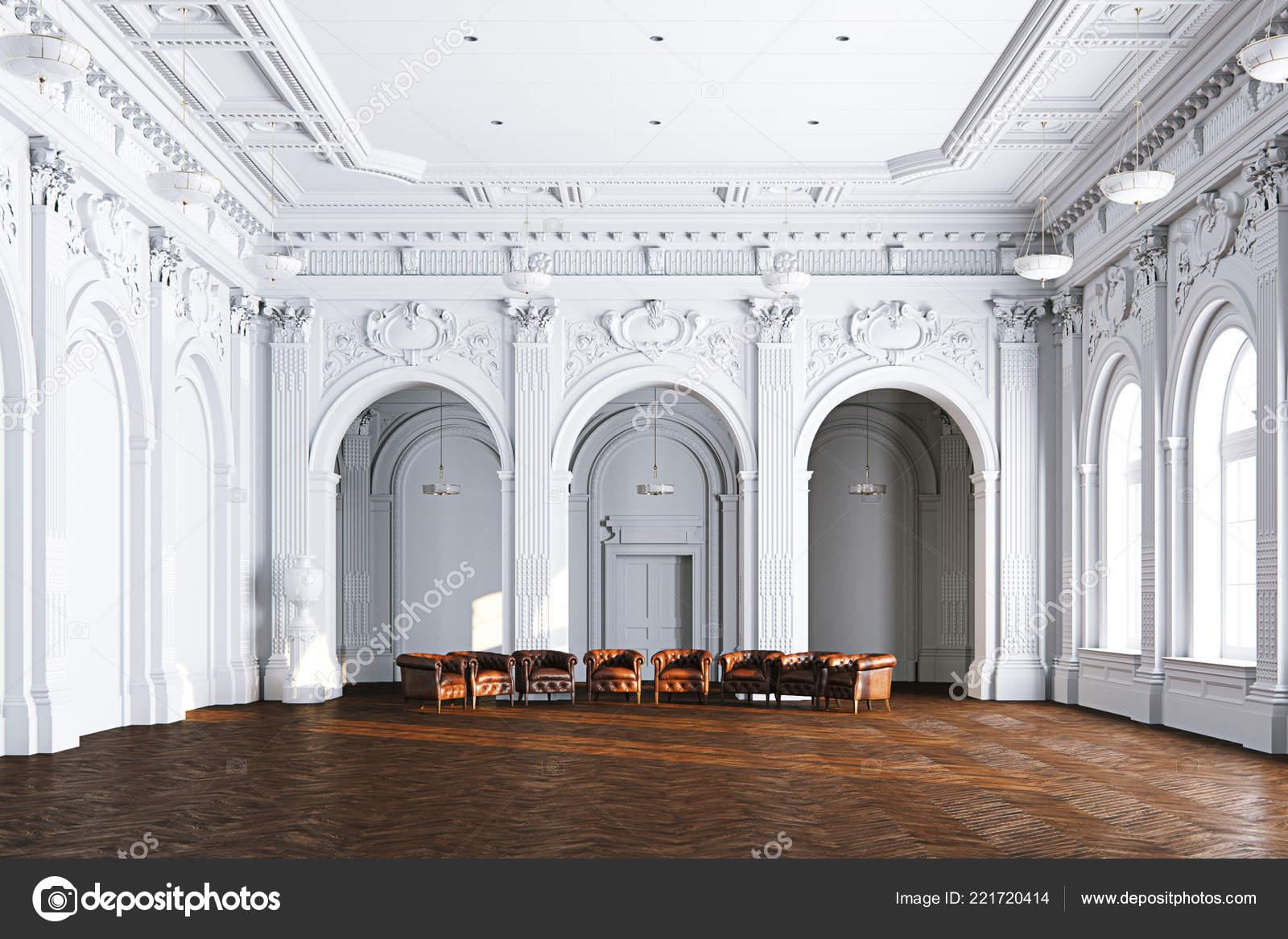 Grote Lederen Fauteuil.Grote Witte Klassieke Interieur Museum Hal Met Vintage Lederen