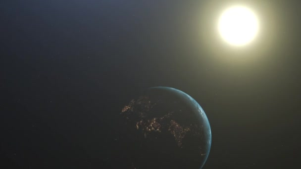 Sunrise Over The Earth. Amazing View Of Planet Earth From Space. HD. 1920x1080. Realistic 3d Animation.