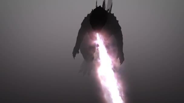 Godzilla tűzzel cucc. Tűz-légzés szörny. Sárkány. 3d.
