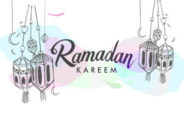 Hand drawn Ramadan holiday poster with watercolor spots on white background
