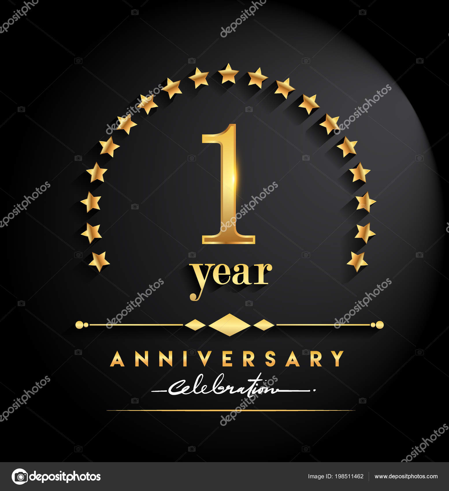 Year anniversary celebration anniversary logo stars elegant golden 1 year anniversary celebration anniversary logo with stars and elegant golden color isolated on black background vector design for celebration invitation stopboris Image collections