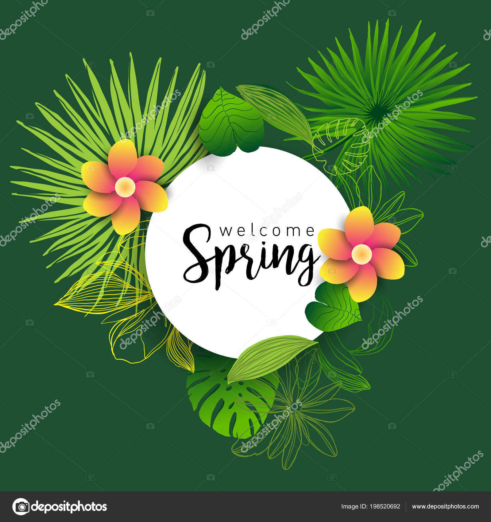 Welcome Spring Trendy Banner Leaves Tropical Plants Flowers Hand Drawn