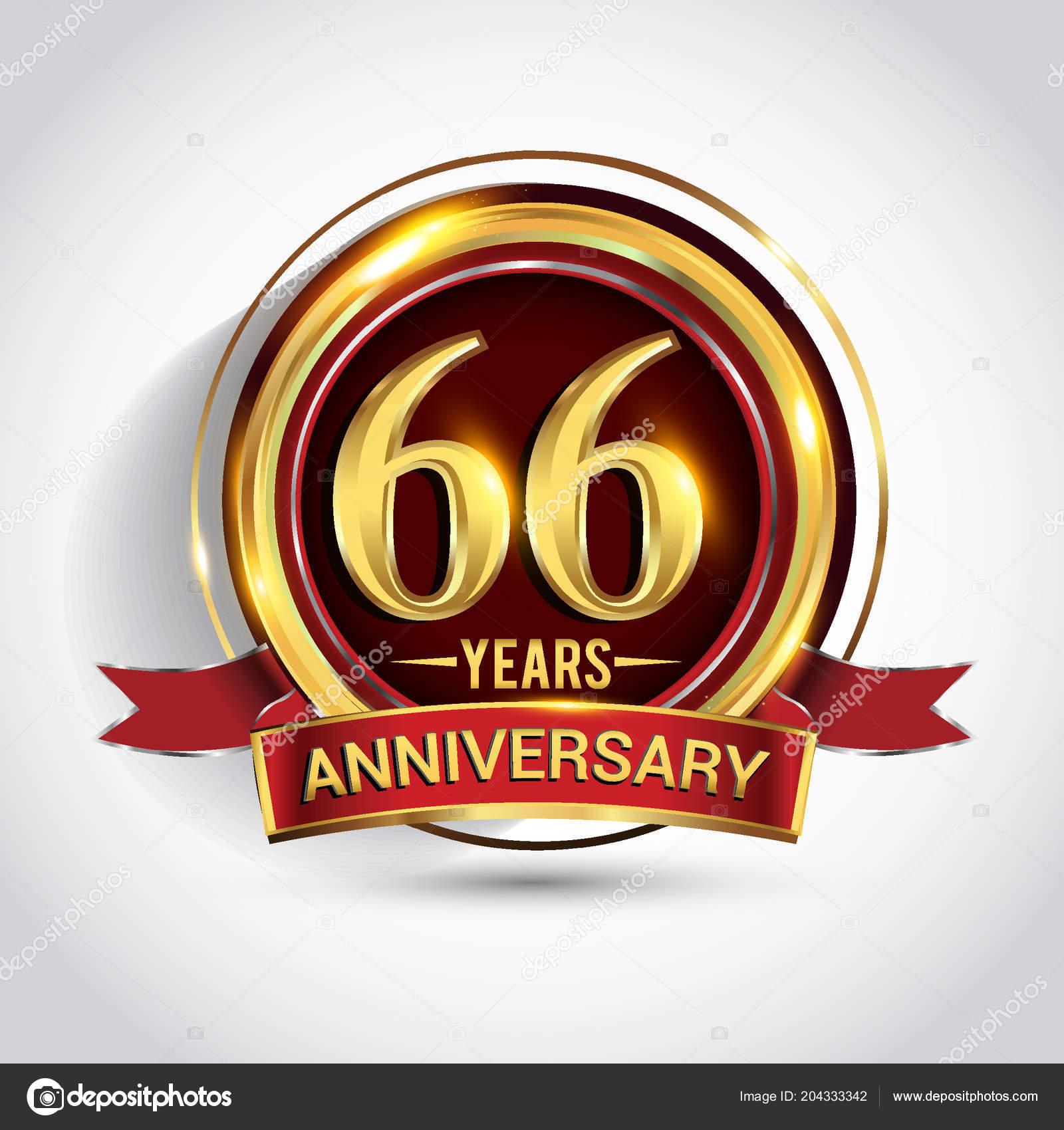 Logotipo Anni Anniversario Celebrazione Logo Con Anello Oro Nastro