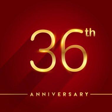 36  gold anniversary celebration logo on red background, vector illustration