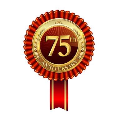 75 th  years anniversary celebration logotype. Logo with confetti, golden ring and red ribbon on dark red background, vector design for greeting or invitation card.