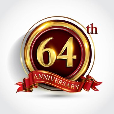 64 th  years anniversary celebration logotype. Logo with confetti, golden ring and red ribbon on dark red background, vector design for greeting or invitation card.