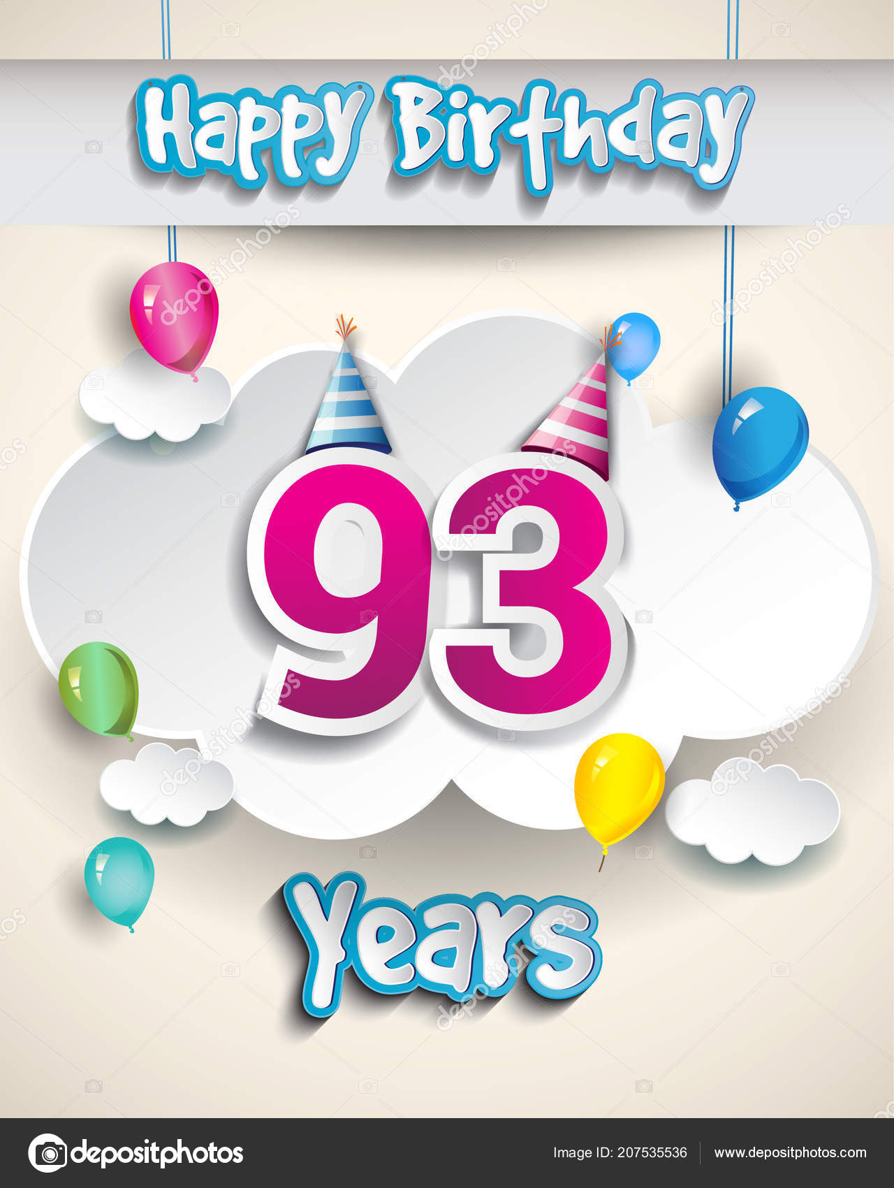 Years Birthday Design Greeting Cards Poster Gift Boxes Balloons