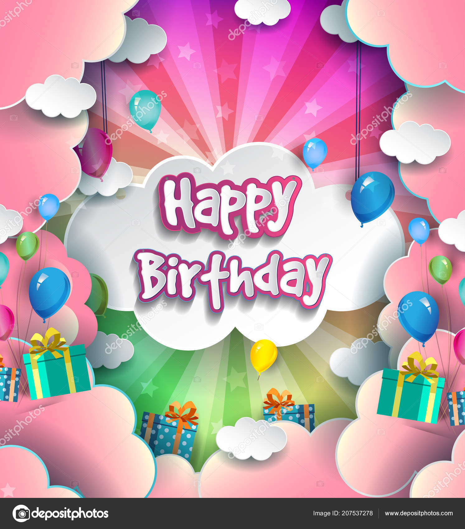 Happy Birthday Typography Vector Design Greeting Cards Poster Balloons Gift Stock