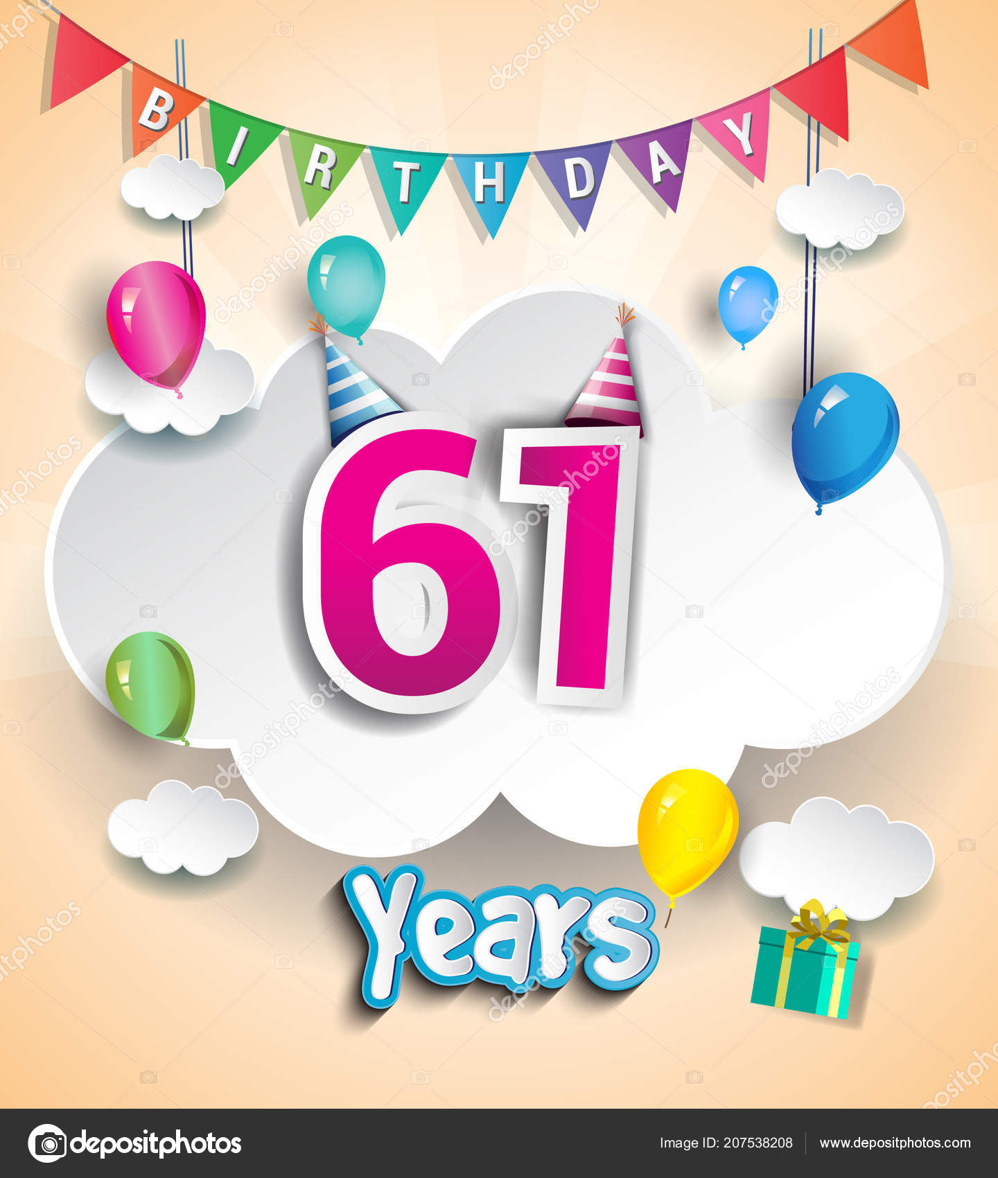 Years Birthday Design Greeting Cards Poster Cloud Balloons Using
