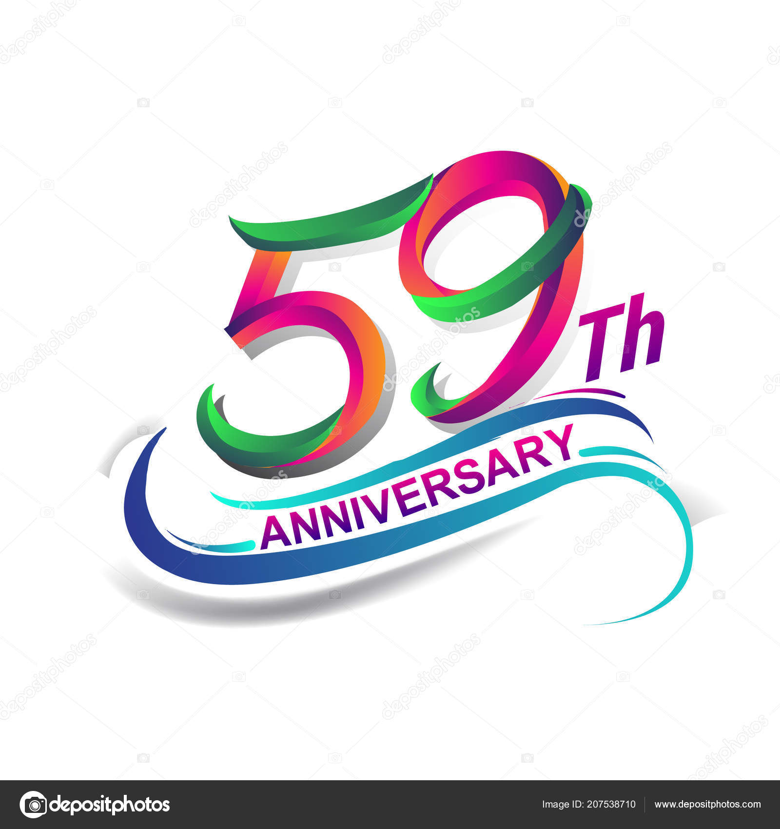 Verjaardag Viering Logo Groen Rood Gekleurd Zeven Van Negentig Jaar