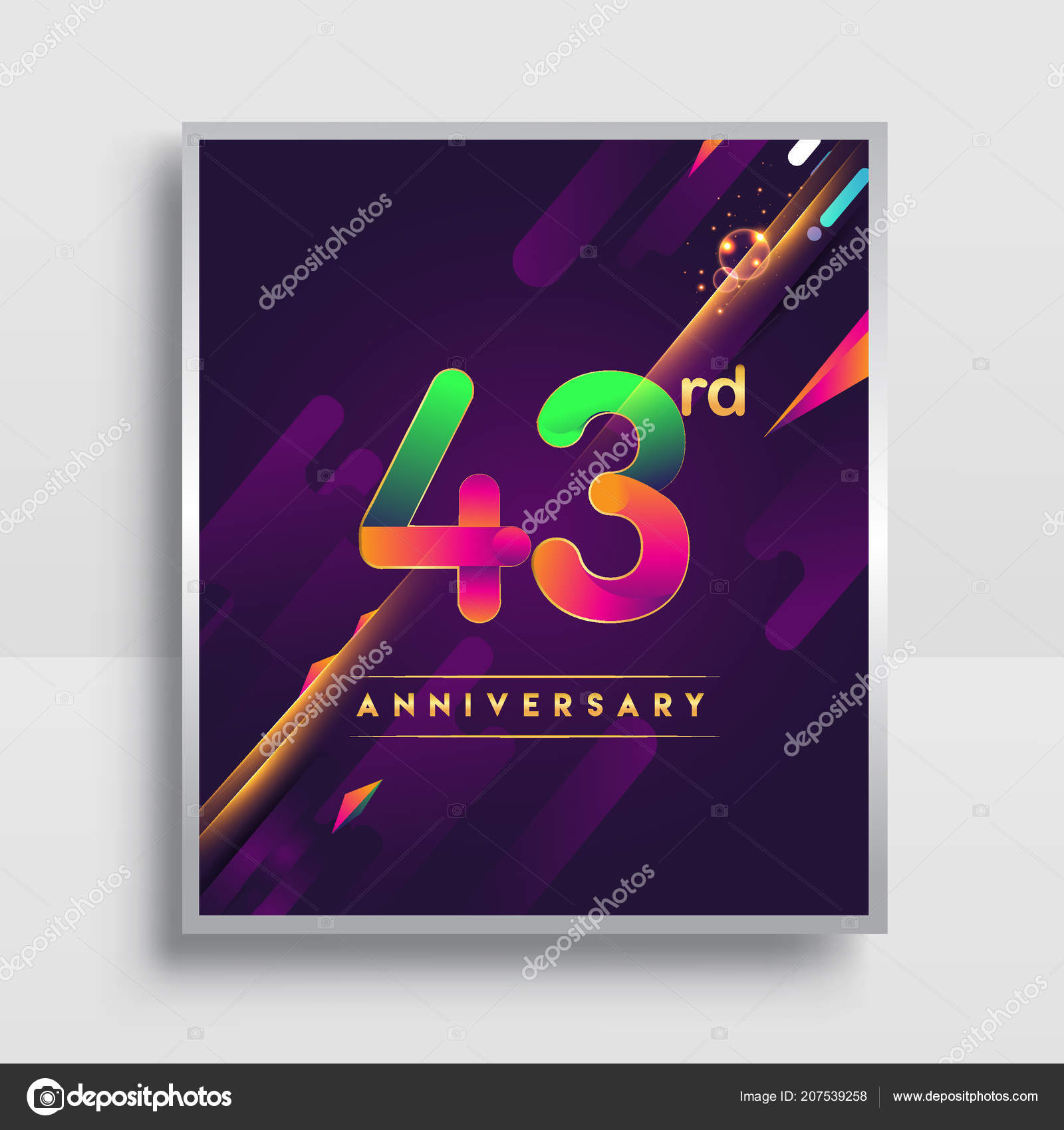 Years anniversary logo vector design invitation poster nineteen 43 years anniversary logo vector design for invitation and poster nineteen years birthday celebration with colorful abstract background isolated on white stopboris Image collections