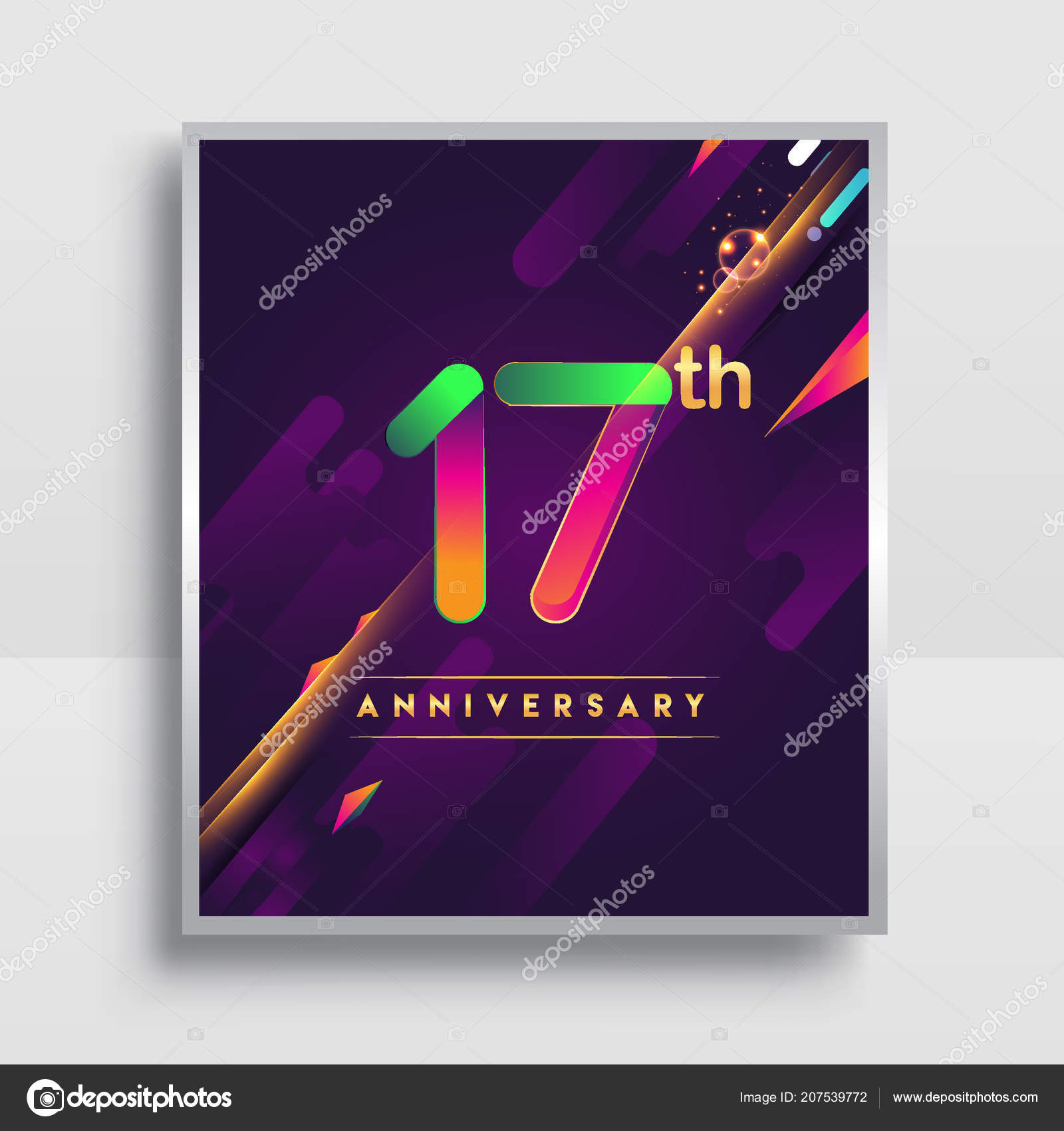 Years anniversary logo vector design invitation poster nineteen 17 years anniversary logo vector design for invitation and poster nineteen years birthday celebration with colorful abstract background isolated on white stopboris Choice Image