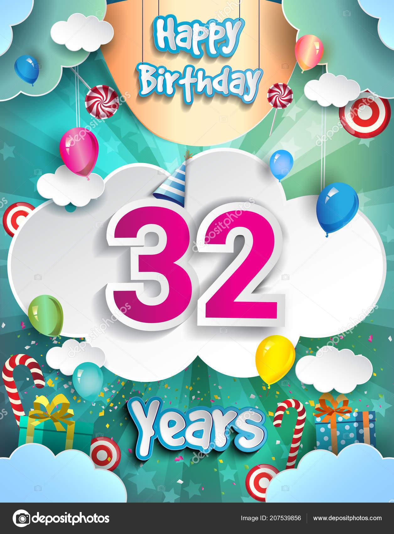 32 Jahre Geburtstag Design Fur Grusskarten Und Poster Mit Geschenk Boxen Luftballons Vorlage Jubilaumsfeier Stockillustration