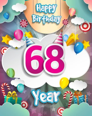 68 Years Birthday Design for greeting cards and poster, with  gift boxes, balloons. design template for anniversary celebration