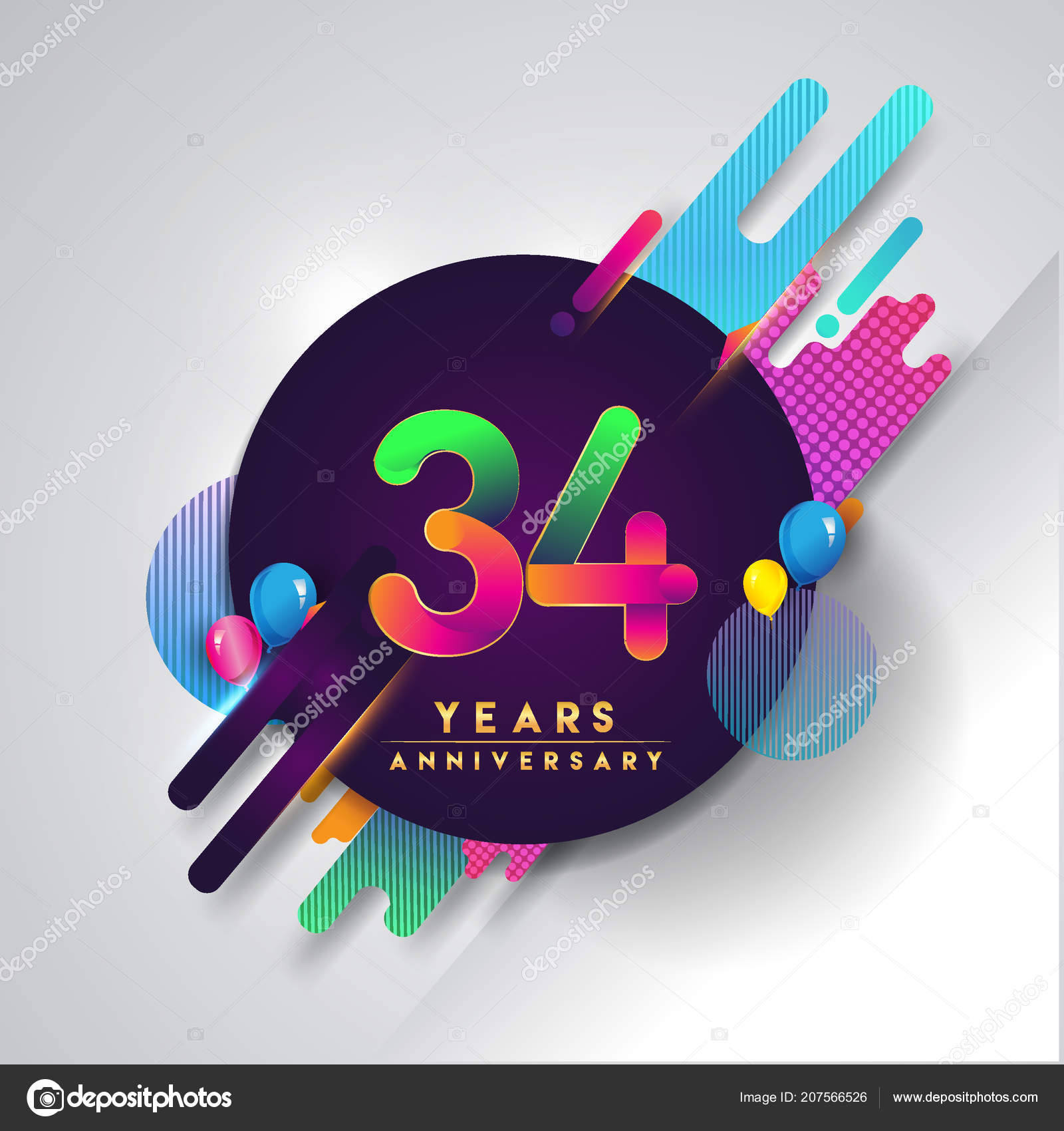 Anniversary Logo Colorful Abstract Background Vector Design