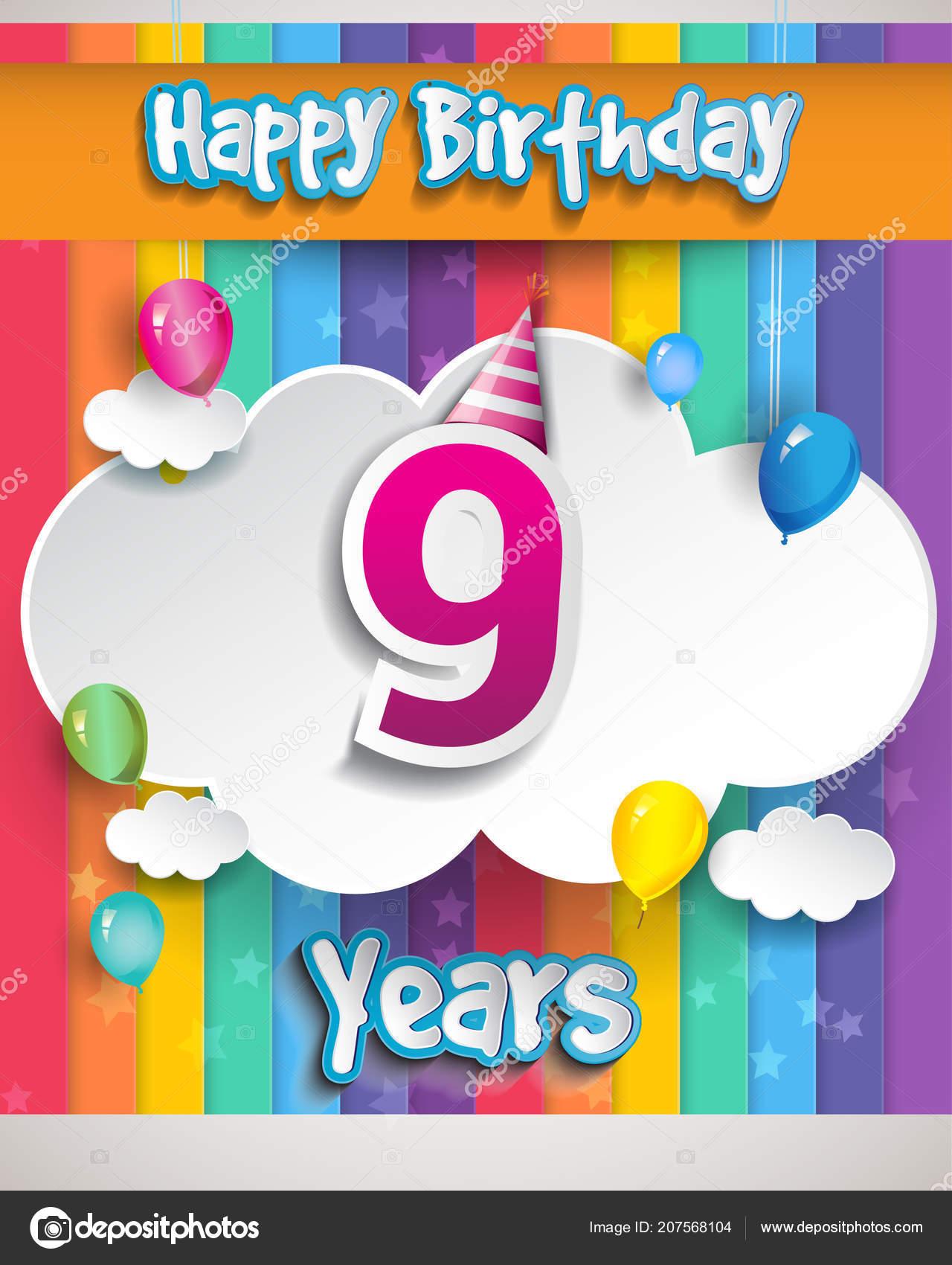 Celebración Del Cumpleaños Con Globos Nubes Diseño Colorido