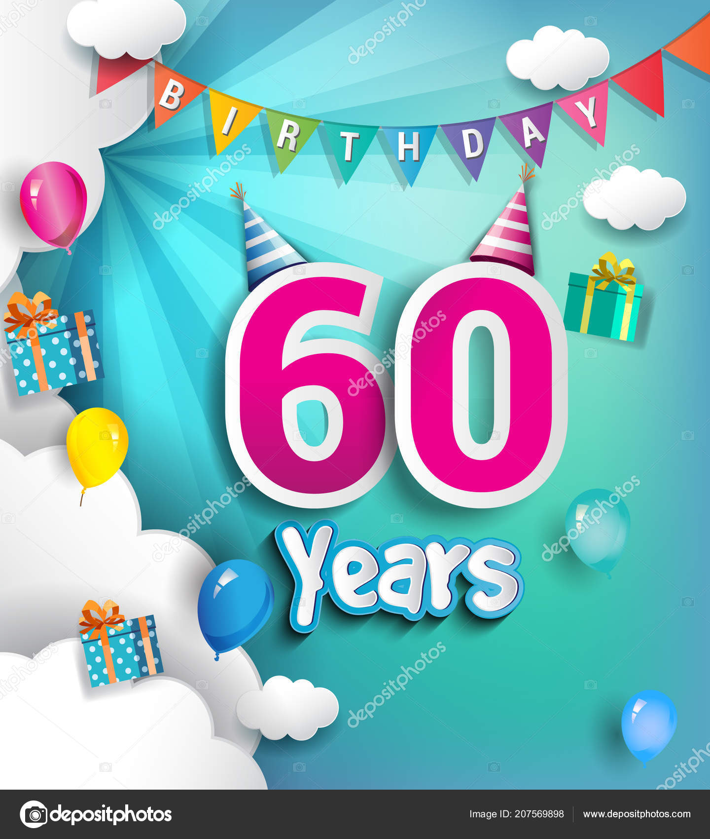 60 Years Birthday Design For Greeting Cards And Poster With Cloud Balloons Using Paper Art Style Vector Elements Anniversary Celebration