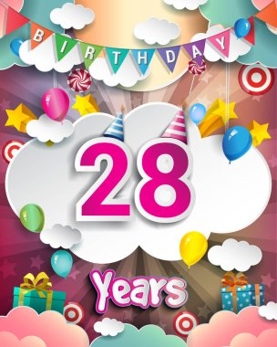 28  Years Birthday Design for greeting cards and poster, with  gift boxes, balloons. design template for anniversary celebration